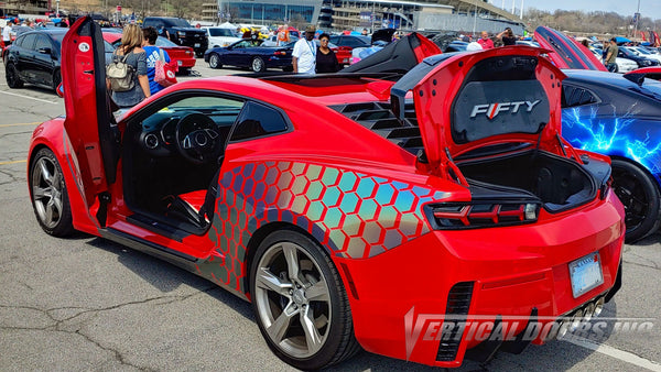 Check out Farris Chevy Camaro SS from Kansas featuring Vertical Doors, Inc. vertical lambo doors conversion kit.