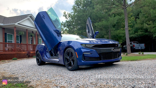 Installer | Prominent Inc. | Washington, NC | Chevrolet Camaro featuring Verical Doors, Inc. vertical lambo doors conversion kit.