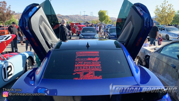 On Fire Auto Customs| Los Angeles CA | (Blue Demon) 2014 Camaro RS with Vertical Lambo Doors Conversion Kit