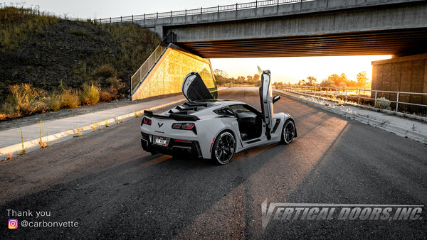 Check out Zachary 's @carbonvette Chevrolet Corvette C7 from Idaho featuring Vertical Doors, Inc., vertical lambo doors conversion kit.