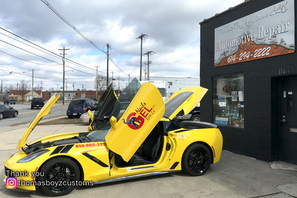 Thomas Boyz Customs from Columbus, OH they did the install of the Vertical Doors, Inc. Conversion kit on this Chevrolet Corvette C7