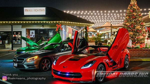 Check out Sek Means Photography from California showing off their skitsll with this great images of Chevrolet Corvette and Camaro featuring Vertical Doors, Inc., vertical lambo door conversion kits.