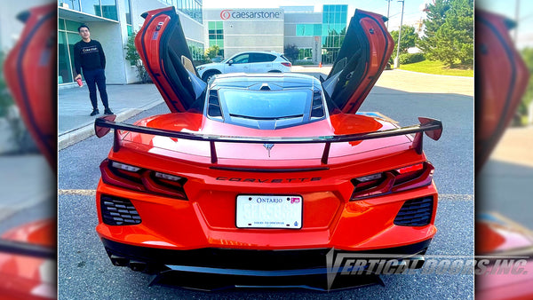 Check out Thang's Chevrolet Corvette C8 from Ontario Canada featuring Vertical Doors, Inc., vertical lambo door conversion kit.