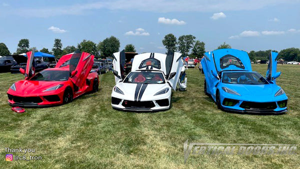 Check out @c8_tron Chevrolet Corvette C8 from Ohio featuring Vertical Doors, Inc., vertical lambo door conversion kit.