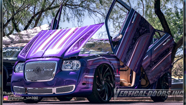 Shawn's @purple_sin300 Chrysler 300 from Nevada featuring Vertical Lambo Doors Conversion Kit from Vertical Doors, Inc.