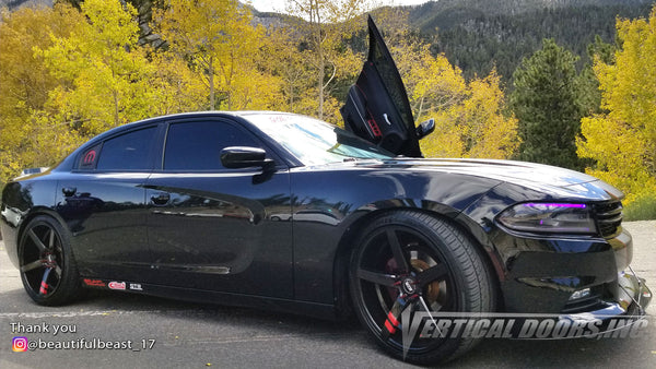 Check out Brittany's @beautifulbeast_17 Dodge Charger from Nevada featuring Vertical Doors, Inc., vertical lambo doors conversion kit.