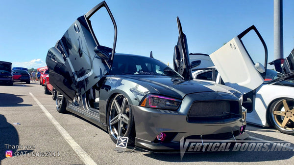 Check out Kevi's @ATribute2011 Dodge Charger from Kentucky featuring Vertical Doors, Inc., vertical lambo doors conversion kit.