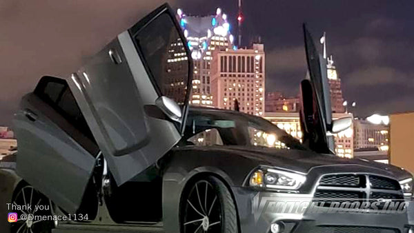 Check out Dennis @Dmenace1134 Dodge Charger featuring Vertical Doors, Inc., vertical lambo doors conversion kit.