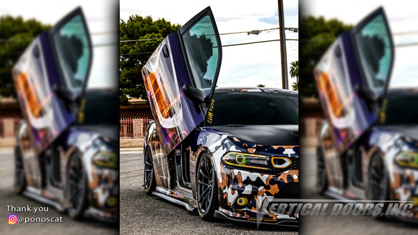 Check out Abel's @ponoscat Dodge Charger from California featuring Vertical Doors, Inc., vertical lambo doors conversion kit.