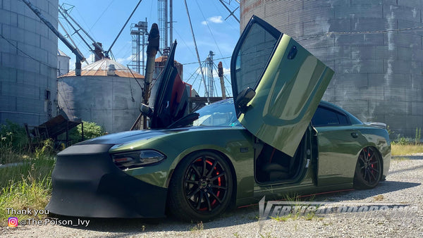 Ashley's @The.Poison_Ivy Dodge Charger from Pennsylvania featuring Vertical Lambo Doors Conversion Kit from Vertical Doors, Inc.