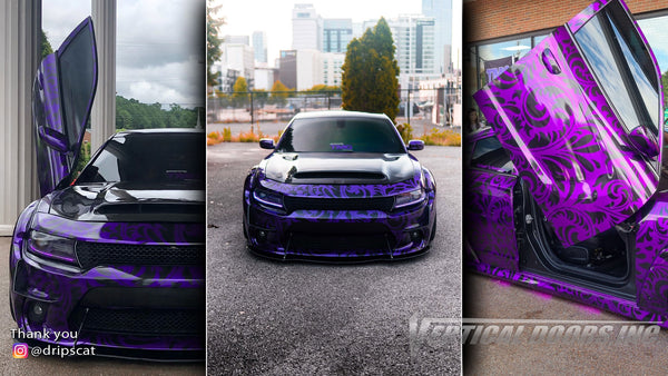 Check out @dripscat Dodge Charger from Tennessee featuring Vertical Lambo Doors Conversion Kit from Vertical Doors, Inc.