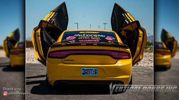 Michelle's @mishiross Dodge Charger from Nevada featuring Vertical Lambo Doors Conversion Kit from Vertical Doors, Inc.