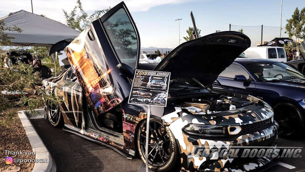 Abel's @ponoscat Dodge Charger from Nevada featuring Vertical Lambo Doors Conversion Kit from Vertical Doors, Inc.