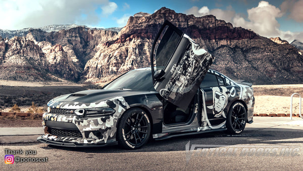 Check out Abel's @ponoscat Dodge Charger from Nevada featuring Vertical Lambo Doors Conversion Kit from Vertical Doors, Inc.