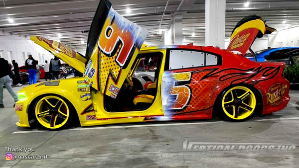 Check out @nascar_nitt Dodge Charger from Georgia featuring Vertical Doors, Inc., vertical lambo doors conversion kit.