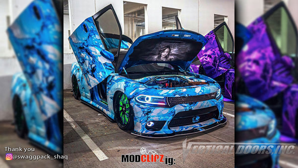 Check out Shaquille's @swaggpack_shaq Dodge Charger from Georgia featuring Vertical Doors, Inc., vertical lambo doors conversion kit.