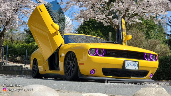 Brian's @gadgets_392 Dodge Challenger from British Columbia, Canada featuring Lambo Door Conversion Kit by Vertical Doors Inc.