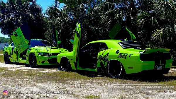 Check out @caught_u_lookin Dodge Challenger and @rumblebee_392 Charger from LA featuring Vertical Doors, Inc., Vertical Lambo Doors Conversion Kits.