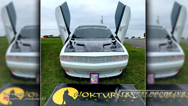 @white_shadow345 Dodge Challenger from Pennsylvania featuring Vertical Doors, Inc., Vertical Lambo Doors Conversion Kits.