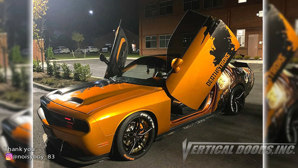 Check out Joshua's @noisyboy_83 Dodge Challenger from Louisiana featuring Lambo Door Conversion Kit by Vertical Doors Inc.