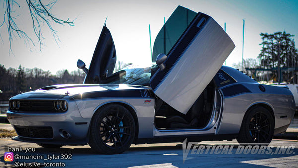 Check out Tyler's @mancini_tyler392 Dodge Challenger from Toronto, Canada featuring Lambo Door Conversion Kit by Vertical Doors Inc.