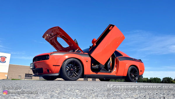 Check out Chris @mango3ninety2 Dodge Challenger from Ontario Canada featuring Lambo Door Conversion Kit by Vertical Doors Inc