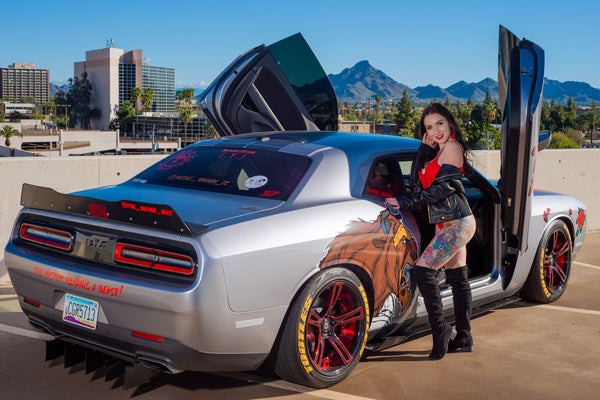 Check out Joe's @the_bulking_beast Dodge Challenger Featuring Ashley @ashleygold26 and Vertical Doors, Inc., vertical lambo doors conversion kit.