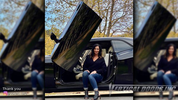 Check out Becky's @vixen19rt Dodge Challenger from Tennessee featuring Vertical Doors, Inc., Vertical Lambo Doors Conversion Kits.