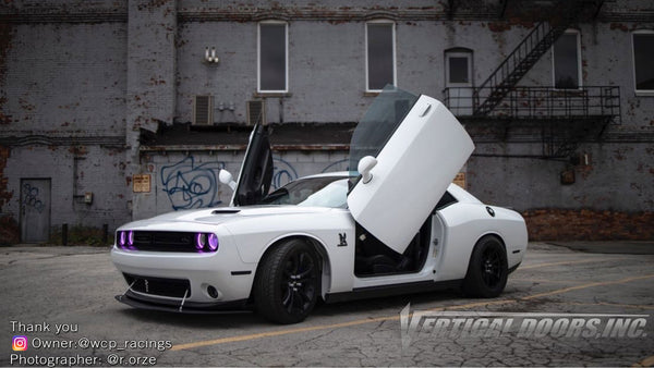 Check out Fabi's @wcp_racing Dodge Challenger with Vertical Lambo Doors Conversion Kit for Vertical Doors, Inc.