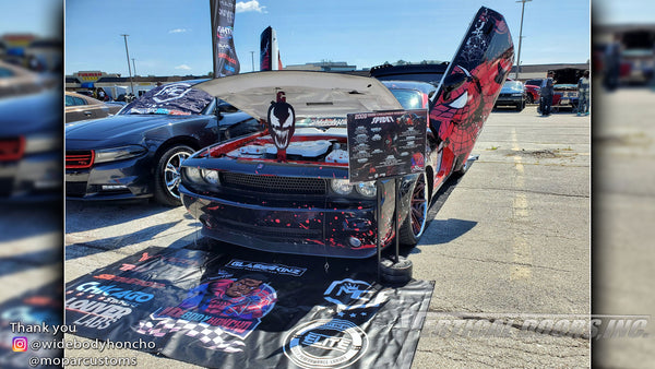 Chad's @widebodyhoncho Dodge Challenger from Chicago featuring Vertical Doors, Inc., Vertical Lambo Doors Conversion Kits.