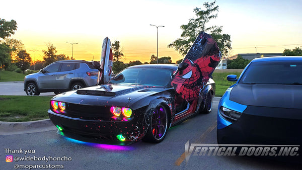 Check out Chad's @widebodyhoncho Dodge Challenger from Chicago featuring Vertical Doors, Inc., Vertical Lambo Doors Conversion Kits.