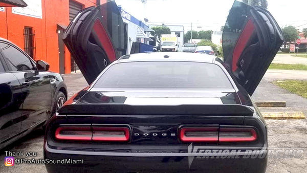 Check out Pro Auto Sound Miami Dodge Challenger featuring Verical Doors, Inc. vertical lambo door conversion kit.
