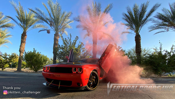 Check out Christina's Dodge Challenger @kitten_challenger from California featuring Vertical Doors, Inc., Vertical Lambo Doors Conversion Kits.