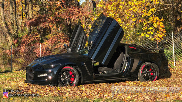 Check out Curtis Ford Mustang 6thGen from Ohio featuring Vertical Lambo Doors Conversion Kit from Vertical Doors, Inc.