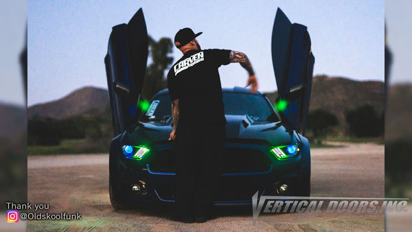 Check out @Oldskoolfunk Ford Mustang from California featuring Vertical Lambo Doors Conversion Kit from Vertical Doors, Inc.