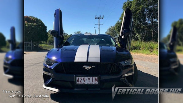 Check out Achille's Ford Mustang from Queensland, Australia featuring Vertical Lambo Doors Conversion Kit from Vertical Doors, Inc.