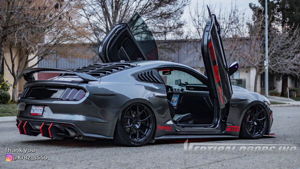Check out Juan's @Kr8z_s550 Ford Mustang from California featuring Vertical Lambo Doors Conversion Kit from Vertical Doors, Inc.