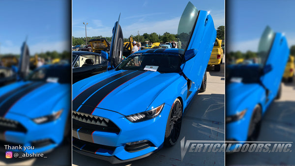 Check out Allen's @_abshire_ Ford Mustang from Florida featuring Vertical Lambo Doors Conversion Kit from Vertical Doors, Inc.