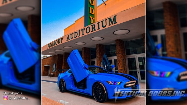 Check out Allen's @_abshire_ Ford Mustang from California featuring Vertical Lambo Doors Conversion Kit from Vertical Doors, Inc.
