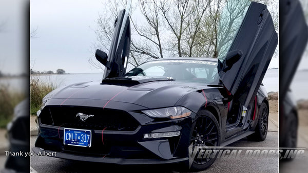 Check out Albert's Ford Mustang from Ontario Canada featuring Vertical Lambo Doors Conversion Kit from Vertical Doors, Inc.