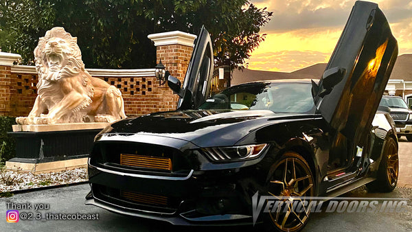 Check out Cody's Ford Mustang 6thGen from Florida featuring Vertical Lambo Doors Conversion Kit from Vertical Doors, Inc.