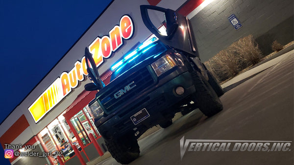 Check out Samantha's @welder_girl_72 GMC Sierra from Montana featuring Lambo Door Conversion Kit by Vertical Doors Inc.