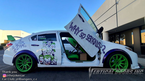 Check out @thejokercar Honda Civic from California featuring Vertical Lambo Doors Conversion Kit from Vertical Doors, Inc.