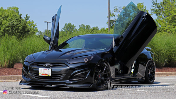 Check out Tim's @vehicleevolution Hyundai Genesis Coupe from Maryland featuring Vertical Doors, Inc., vertical lambo doors conversion kit.