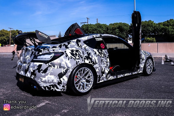 Edward's Hyundai Genesis Coupe featuring Vertical Doors, Inc., vertical lambo doors conversion kit.