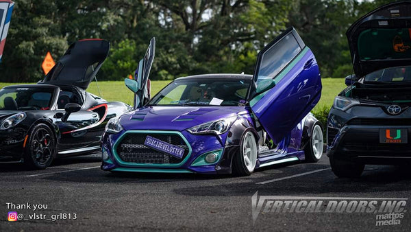 Check out @_vlstr_grl813 Hyundai Veloster from Florida featuring Vertical Lambo Doors Conversion Kits from Vertical Doors, Inc.