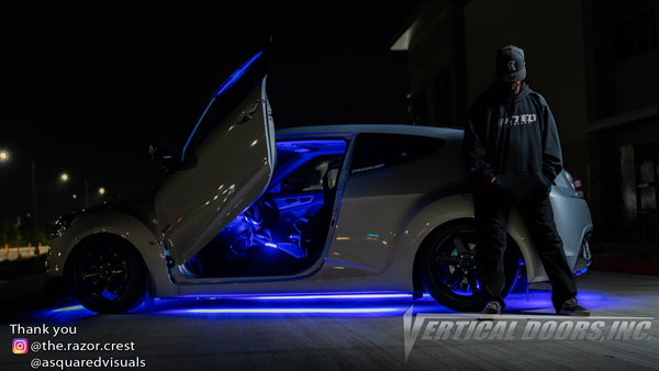 Check out Juan's @the.razor.crest Hyundai Veloster from California featuring Vertical Lambo Doors Conversion Kits from Vertical Doors, Inc.