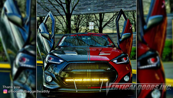 Omar's @boostedbaggedwaddy Hyundai Veloster from Pennsylvania featuring Vertical Lambo Doors Conversion Kits from Vertical Doors, Inc.