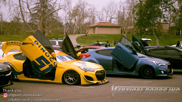 Check out @veloster_rally and @dinoco_thunder_51 Hyundai Veloster from California featuring Vertical Lambo Doors Conversion Kits from Vertical Doors, Inc.