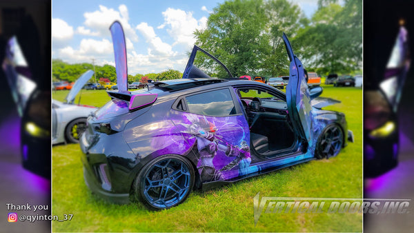 Quinton's @qyinton_37 Hyundai Veloster from Georgia featuring Vertical Lambo Doors Conversion Kits from Vertical Doors, Inc.